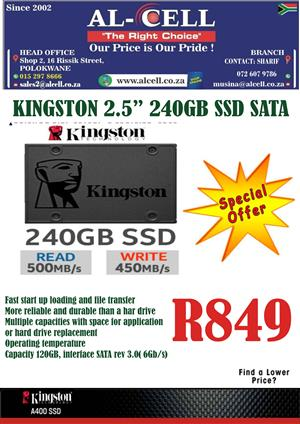 Kingston 2.5″ 240 Gb SSD Sata Hard Drive
