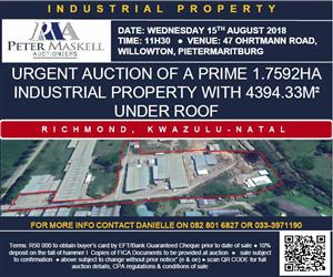 URGENT AUCTION OF A PRIME 1.7592HA INDUSTRIAL PROPERTY WITH 4394.33M² UNDER ROOF -RICHMOND, KWAZULU-NATAL-