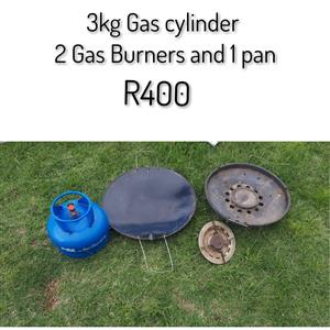 3kg Gas cyclinder, 2 Gas Burners and 1 Pan