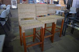 3 Wooden woven bar chairs for sale