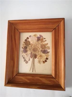 Square wooden framed flower decor
