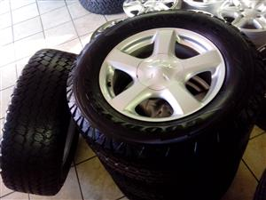 Isuzu 17 inch mags with 255/65/17 Goodyear Wrangler used tyres R6000 set.