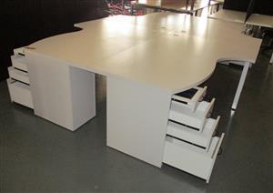 4 Way cluster desk with dhp folk stone grey