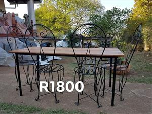 Black wooden top patio set
