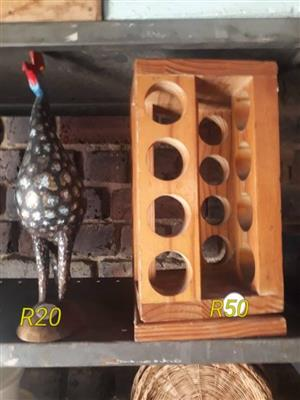 Guinea fowl ornament and shot glass holder