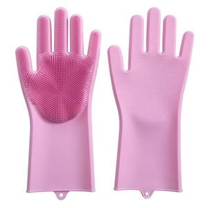 Grab 8% Off On Magic Silicone Dish Scrubber Glove Dishwashing Gloves For Washing Pink