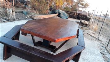 Picnic table made of sleeper wood