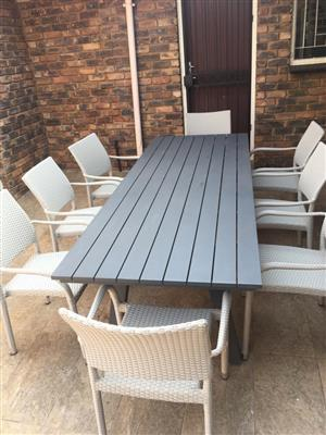 Patio Warehouse Aluminum 8 Seater Table & Chairs