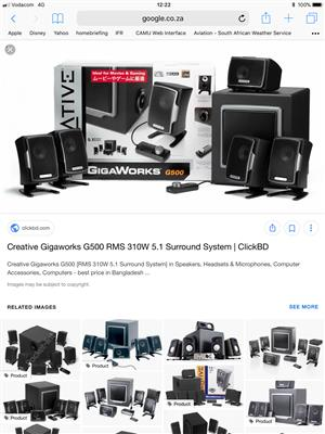 Creative Gigaworks THX 5.1 speaker system plus subwoofer for sale