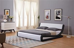 Hazlo Gabriella Modern Curve Style Faux Leather Bed Base - Black (Size: King)