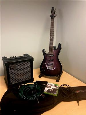 Left hand Ibanez Guitar, Roland Cube, Rocksmith Xbox game & cables
