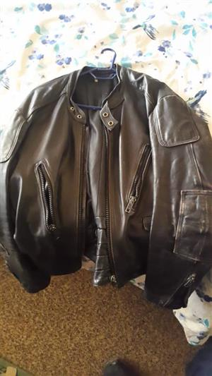 Dark brown leather jacket for sale