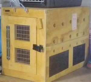 IATA (airline approved) approved Pet transport wooden container, used on Kulula flight.
