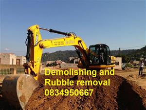 Rubble removal, 0834950667  tlb Johannesburg Sandton  Southgate Soweto Sunninghil