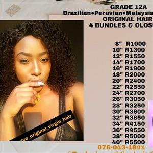 Exclusive Original virgin hair 4 bundles & free lace closure