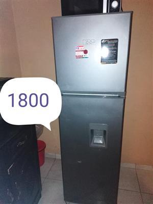Silver fridge with top freezer