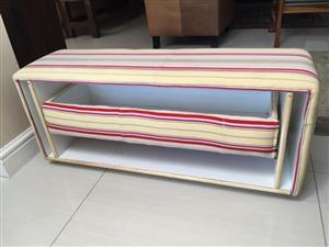 Upholstered Ottoman with pull out storage drawer for shoes etc