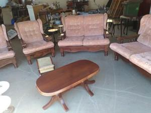 Hardwood Lounge Suite in Draylon  4 piece