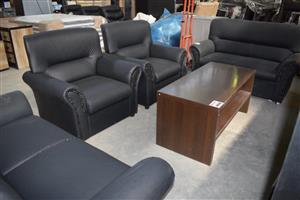 4 Piece black leather lounge suite