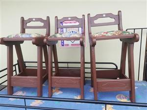 3 Wooden bar chairs for sale