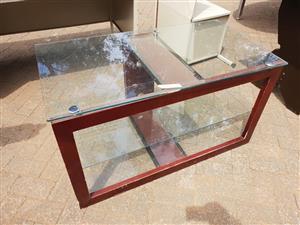 Glass top and shelf coffee table