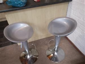 2 silver barstools for sale