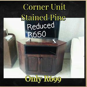 Stained pine corner unit