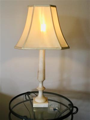 Solid Marble Lamps with lampshades (Pair)