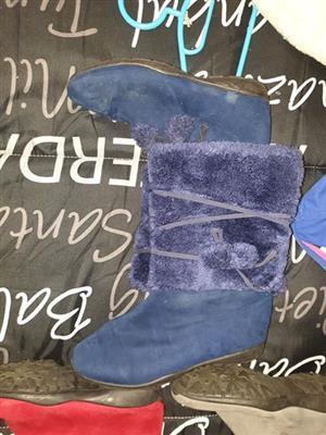 Blue ladies fur boots for sale
