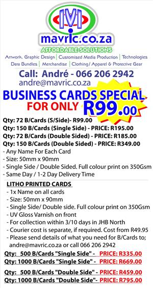 FULL COLOUR BUSINESS CARDS ONLY - R99.00