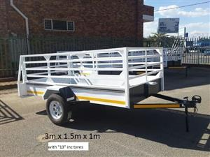 """3m x 1.5 x 1m with """"13"""" tyres,papers,Vat and microdot included."""