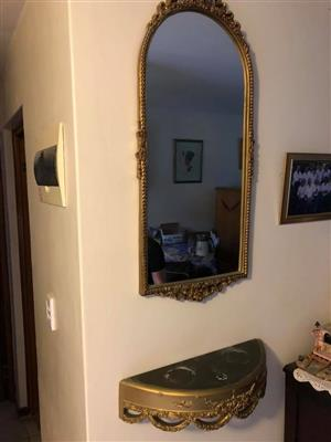 Vintage golden framed mirror and wall mount