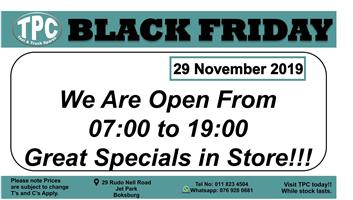 BLACK FRIDAY 29 NOVEMBER 2019  Contact for Price