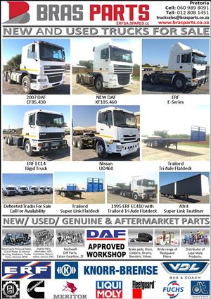 DAF/ ERF Parts for Sale, New, Used and Aftermarket Parts available, any parts from Engine to Body parts, Cabs, and lots more