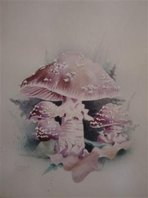 3x Original Mushroom Paintings