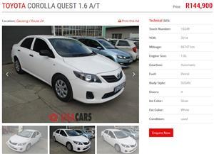2014 Toyota Corolla 1.6 Advanced auto