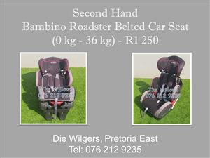 Second Hand Bambino Roadster Belted Car Seat (0 kg - 36 kg)
