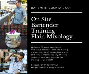 Flair Bartender and Mixology Training by Barsmith Cocktail Co. 067 729 1873