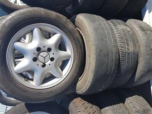 Mercedes mag rims and tyres 195.65R15 for sale.