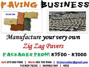 Start your very own Zig Zag Paver manufacturing BUSINESS FROM ONLY R3500