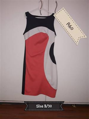 Size 32 orange, gray and black summer dress