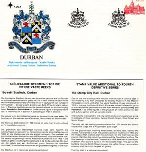 Commemorative Stamp & Envelope Set - Durban 1987