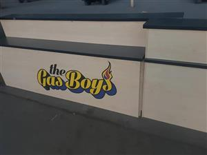 The gas boys reception desk