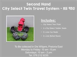 Second Hand City Select Twin Travel System with Belted Bases