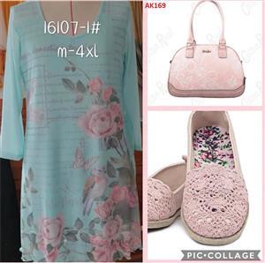Light blue dress,shoes and handbag