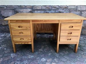 Solid Pine 6 Draw Desk
