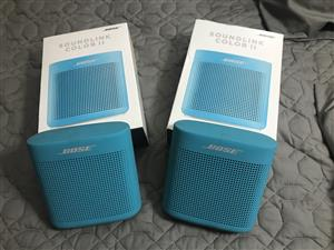 2 x Bose Soundlink Color 2 bluetooth speakers in original packaging. Can be used together in party mode. Hardly used. R1800 if bought seperately