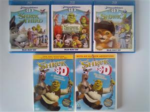 Shrek 3D Movies Collection R90 each. One Disc is in Portuguese, Spanish and English. Another box consists 3D and 2D Movies for R120.