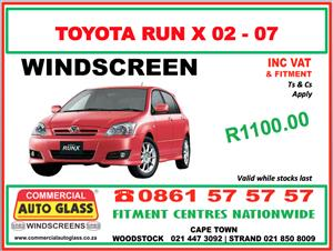 TOYOTA RUNX 02-07 COMMERCIAL AUTO GLASS WINDSCREEN SPECIAL