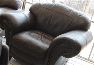 3 piece leather lounge suite S032709A #Rosettenvillepawnshop